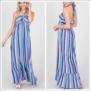 Red,white blue striped halter maxi dress